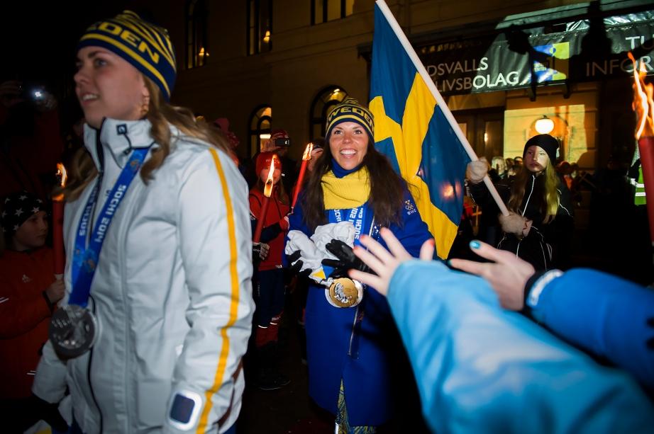 Charlotte Kalla välkomnas till Sundsvall efter OS i Sotji.